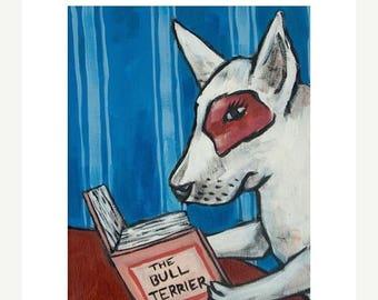 20% off storewide Bull Terrier Reading a Book Dog Art Print