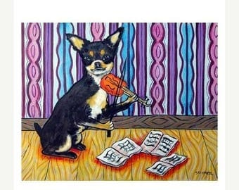 20% off storewide Chihuahua Playing the Violin Dog Art Print