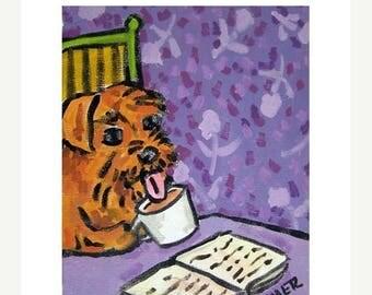20% off storewide Irish Terrier at the Coffee Shop Dog Art Print   JSCHMETZ modern abstract folk pop art AMERICAN ART gift