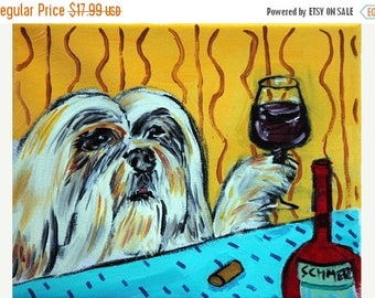20% off llasa Apso at the Wine Bar Dog Art Print