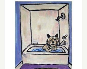 20% off Cairn Terrier Taking a Bath Art Print