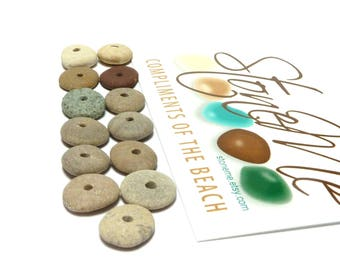 Genuine Beach Stones CAMDEN WAY Spacer Donuts Focal Jewelry Beads Natural Pebble Cairn Rustic Desert Charm River Rocks Strand