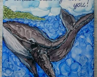 Whale alcohol ink painting on ceramic tile