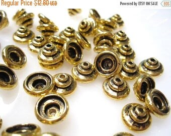 50% Off Bulk Bead Caps, Antique Gold Bead Caps,  5x9mm 4mm I.D and 7mm I.D. 50 pcs Bc1018 A16