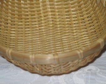 Vintage Bamboo Basket Bowl Strainer Colander