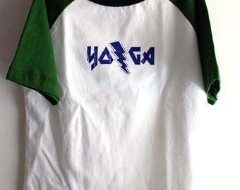YOGA baseball raglan tee 4T Toddler size-hand silkscreened original