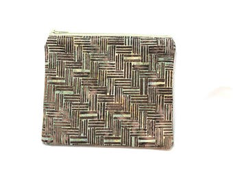 Cosmetic Case, Cord Case, Bridesmaid Gifts, All-Purpose Zipper Case, Brown and Green Batik 9043