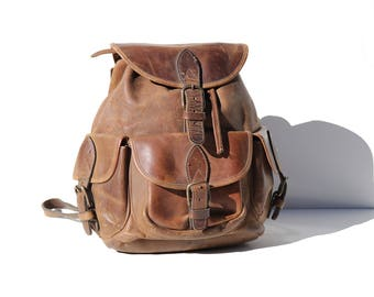 Vintage Thick Brown Leather Backpack