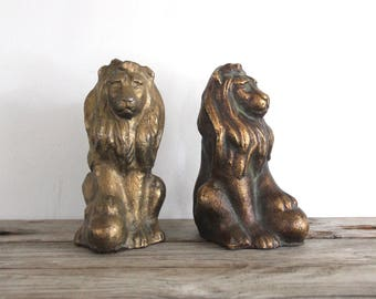 Cast Iron Gold Lion Bookends
