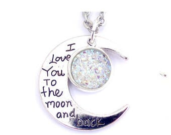 """Crystal Clear Faux Druzy I Love You To The Moon And Back Nacklace 30"""" Stainless Steel Chain"""
