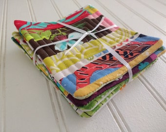 Set of 4 Quilted Coasters - Selvages Stripes 2