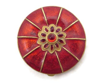 Compact Perfume Solid -  Red Enameled Solid Perfume Concentrate Charles Revson Ciara Sienna Scent