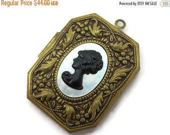 OnSale Large Brass Locket - Black and White Cameo, Mother of Pearl