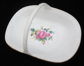 Porcelain Trinket Dish Basket - Spode Bone China Billingsley Rose Spray