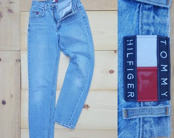 "Vintage 90s Jeans  //  Vtg TOMMY HILFIGER Distressed Threadbare Lightly Tapered Leg Stone Wash Denim Jeans   //  26"" waist"