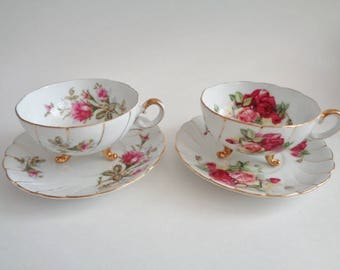 Cherry China  Gold Trim Floral Design  Cup with  Saucer Set of 2