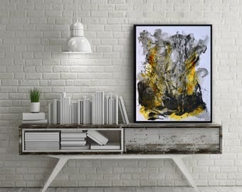 Modern painting, Abstract Painting on paper, white black painting, original painting, original abstract painting on paper, white painting