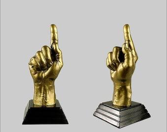 Number One hand trophy. Number One hand. Number One finger. Number One sign. Gold
