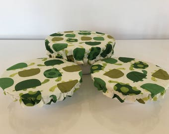 Reusable Food Bowl Container Elastic Picnic Cover Green Turtle Cotton Fabric (3 Piece)