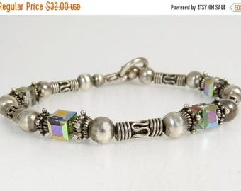 Ethnic Tribal Sterling Silver Beaded Bracelet