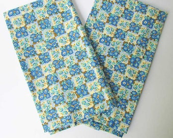Pair of Cotton Pillowcases, Small Flowers and Squares in Bright Blue, Turquoise, Yellow,  2 Standard Size Pillowcases, Bedding, Bed Decor