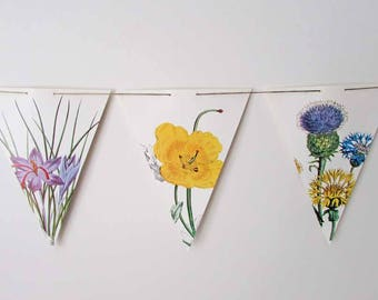 Paper Wildflowers Flag,  Bunting, Paper Banner, Vintage Flowers Prints Wall Banner, Party Banner, Garden Flowers Flags, Party & Event Banner