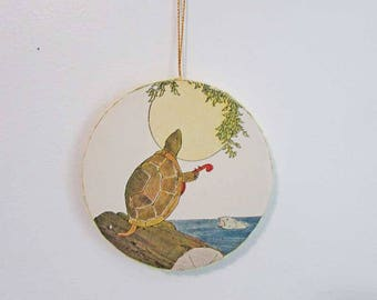 Handmade Holiday Ornament,  Home Decor Ornament, Recycled Child's Book Image, Tortoise Sings to Moon, Cottage Decor, Holiday Hanger Ornament