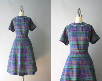 1950s Dress / Vintage 60s Purple Plaid Cotton Dress / 50s Day Dress L XL