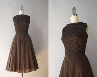 Early 1960s Dress / Vintage 60s Chocolate Cotton Embroidered Dress / Miss Couture Bateau Neck Gauzy Cotton Dress S small