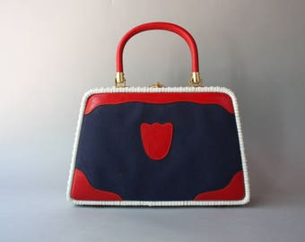 1960s Purse / Vintage 50s 60s Nautical Handbag / 1950s White Wicker Canvas and Leather Gaymode Purse