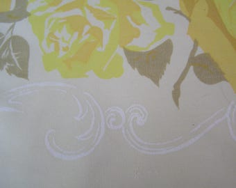 Vintage Yellow California Hand Prints Tablecloth ~ Roses