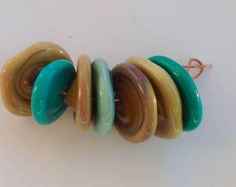 Lampwork disk Glass Beads