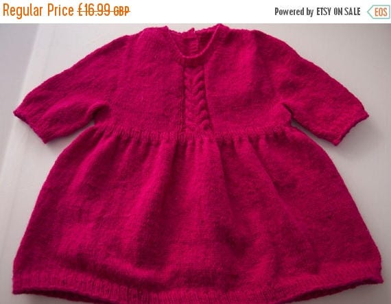 Christmas In July Handknitted Cerise Tunic/Dress for 18 month old