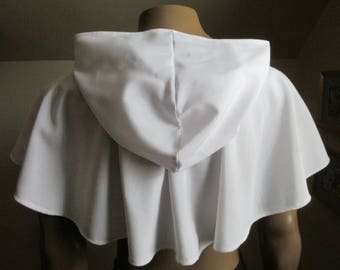 Hooded Cowl White Linen Look Ready Made Elven Medieval Woodland