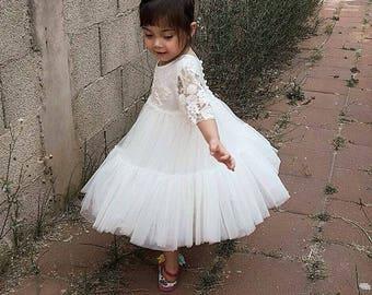 Star Light Ivory Flower Girl Dress First Communion Dress Holy Communion Dress Baptism Dress