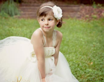 Flower Girl Dress Ivory Lace Boutique Couture Full Ball Gown Style Custom Colors Available Artistic Designs By Rachel Ready To Ship Simple