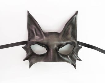 Grey Cat Leather Mask costume masquerade Smaller Adult Size simple but sexy