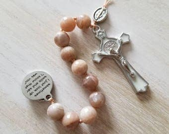 Mini rosary, small rosary, prayer beads, religious gift, memorial rosary, in memory of gift, quote jewelry, pocket rosary, catholic rosary