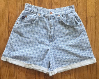 Vintage 90s Blue Plaid Preppy High Waist Denim Cuff Shorts - 28 inch waist