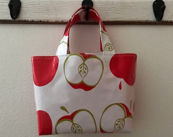 Beth's Small  Red Apples Oilcloth Market Tote Bag