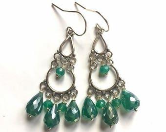 20% off FLASH SALE, Garden Green Coated Onyx Chandelier Earrings, gemstone earrings, green earrings