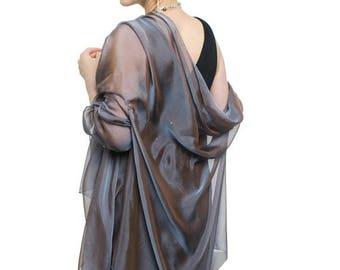 Promo Sale: Steel Blue Evening  Silk Chiffon Stole/ Wrap/ Shawl with semi-sleeves