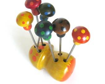 Vintage Appetizer Forks / Brightly Colored Painted Wood Mushroom with Six Appetizer or Olive Forks / Retro Serving Utensils / Hostess Gift