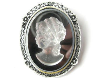 Victorian Revival Cameo Brooch or Pendant / Black and White Glass Cameo /  Intaglio / Gift for Her / Gift for Woman / Victorian Jewelry