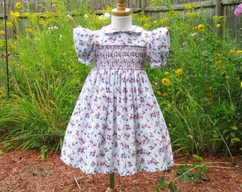 Hand smocked girls dress, size 3T, Shaded pink floral, Blue flowers, OOAK, Party dress, Special occasion, Ready to ship, Toddler dress,