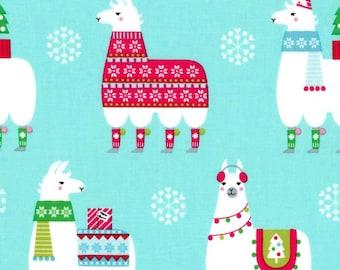 Llama Navidad Aqua Color ~ Llama Navidad Collection for Michael Miller Fabrics