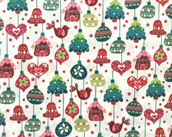 Sugar High Christmas Ornaments White Color ~ Evergreen Collection by Hoffman California Fabrics