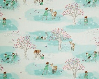 Wee Wander Woods Turquoise Color by Sarah Jane for Michael Miller Quilt Cotton Fabric, Out of Print