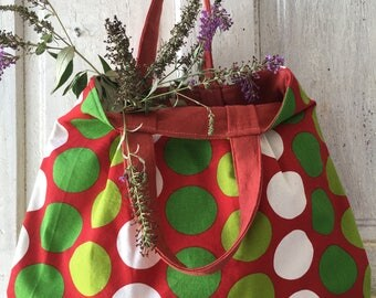 Handmade  fabric bag HANDBAG polka dots red green and white with recycled red lining market tote shopping bag grocery bag say no to plastic