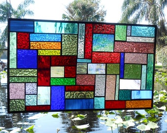 Bold Stained Glass Transom Window, Multicolor Patchwork Quilt Stained Glass Panel, Geometric Quilt Square Window Valance, Original Glass Art